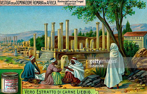 Ruins of Timgad Roman colonial town Illustration from Liebig collectible card series 'Remains of the Roman Empire in Africa' 1914