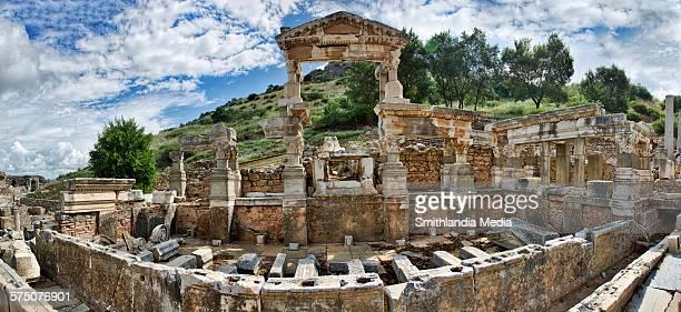 ruins of trajan fountain in ephesus - ephesus stock pictures, royalty-free photos & images