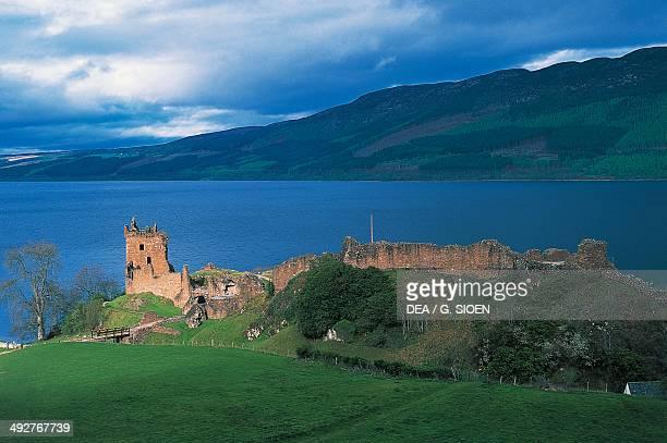 Ruins of Urquhart castle on the banks of Loch Ness, Drumnadrochit, Scotland, United Kingdom.