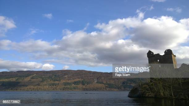 Ruins of Urquhart Castle with Loch Ness, Scotland