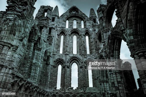 ruins of whitby abbey, north yorkshire, england - gothic stock pictures, royalty-free photos & images