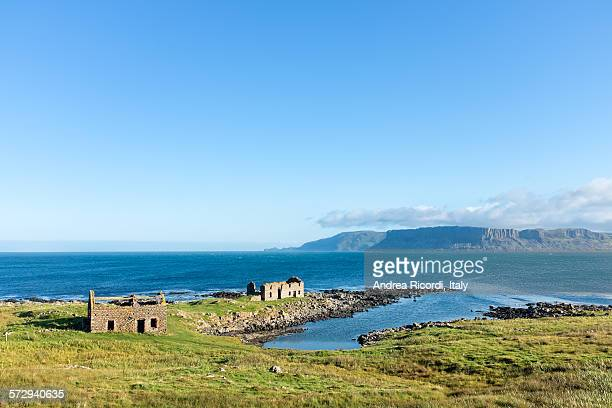 ruins on the coast of rathlin island - county antrim stock pictures, royalty-free photos & images