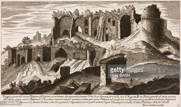Ruins on the eastern slopes of the Palatine Hill Rome Italy from Vestigi delle Antichita di Roma Tivoli Pozzuolo et altri luochi engraving by Marco...