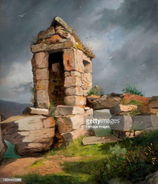 Ruins, St Michael's Mount, Cornwall, 1858. Artist Benjamin Johnson.
