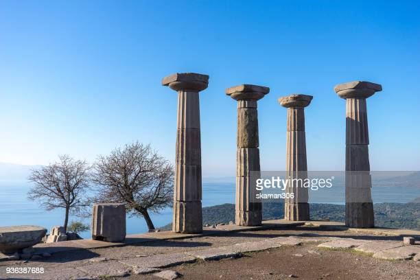 Ruins temple of Athena at ancient city of Assos. Behramkale, Canakkale