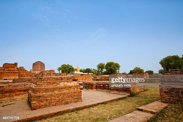 ruins with stupa in background, sarnath, varanasi, uttar pradesh, india - dhamekh stupa stock photos and pictures
