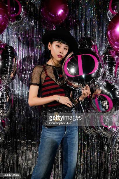 Ruka attends the Dior Addict Lacquer Plump Party at 1 OAK on April 10 2018 in Tokyo Japan