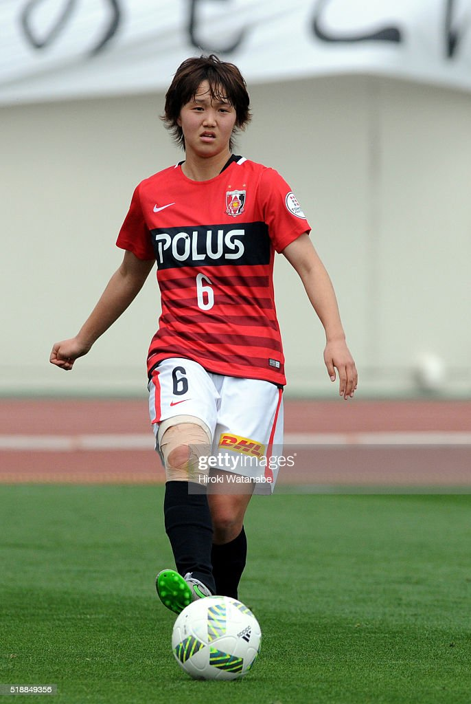 Ruka Norimatsu of Urawa Reds in action during the Nadeshiko League match between Urawa Red Diamonds Ladies and Albirex Niigata Ladies at the Saitama Komaba Stadium on April 3, 2016 in Saitama, Japan.