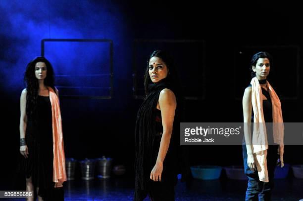 Rukhsar Kabir Priyanka Bose and Poorna Jagannathan in Nirbhaya directed by Yael Farber at Assembly as part of the Edinburgh Festival Fringe