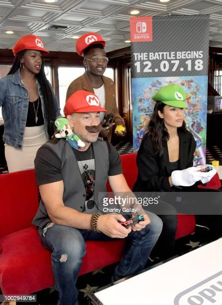 Rukiya Bernard Aleks Paunovic Trezzo Mahoro and Jennifer Cheon put their gaming skills to the test playing Mario Kart 8 Deluxe on Nintendo Switch at...