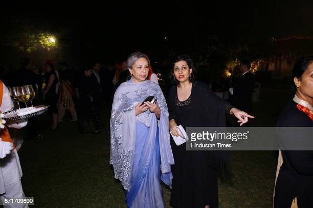 Rukmini Chawla with actress Sharmila Tagore during the fundraiser for Lepra India Trust at the residence of the British High Commissioner Sir Dominic...