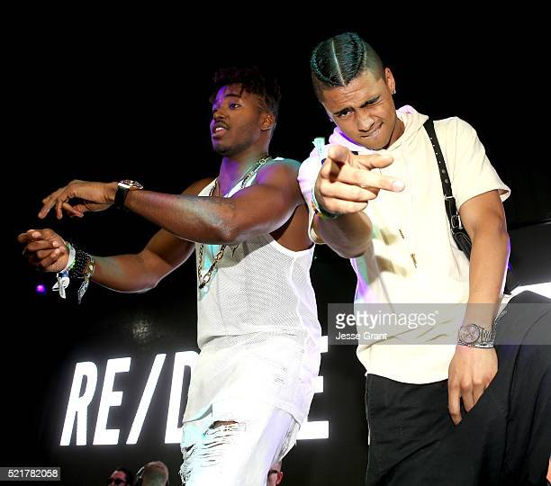 Rukus and Quincy Brown dance on stage at the Levi's Brand and RE/DONE Levi's presents NEON CARNIVAL with Tequila Don Julio on April 16 2016 in...