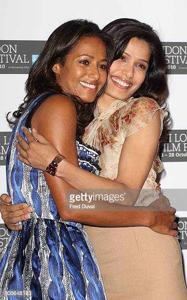 Rula Jebreal and Frieda Pinto promote the film 'Miral' at the 54th BFI London Film Festival at Vue West End on October 18 2010 in London England