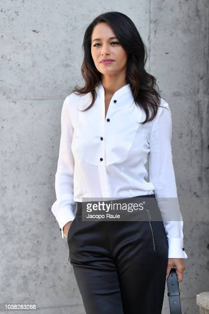 Rula Jebreal arrives at the Giorgio Armani show during Milan Fashion Week Spring/Summer 2019 on September 23 2018 in Milan Italy
