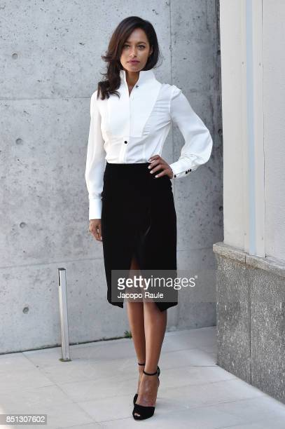 Rula Jebreal attends the Giorgio Armani show during Milan Fashion Week Spring/Summer 2018 on September 22 2017 in Milan Italy