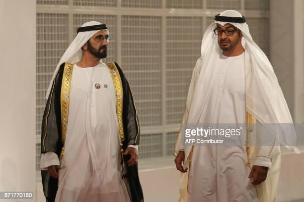 Ruler of Dubai Sheikh Mohammed bin Rashid alMaktoum and Abu Dhabi Crown Prince Mohammed bin Zayed AlNahyan attend the inauguration of the Louvre Abu...