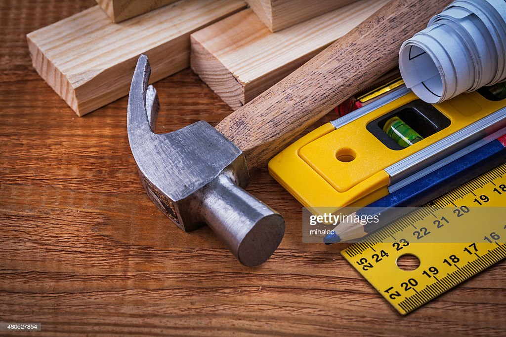 Ruler pencil blueprints wooden bricks construction level and cla : Stock Photo