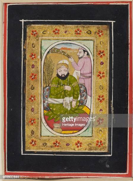 Ruler wearing a green jama attended by a morchal bearer late 18th century Dimensions height x width mount 404 x 278 cmheight x width page 10 x 75...