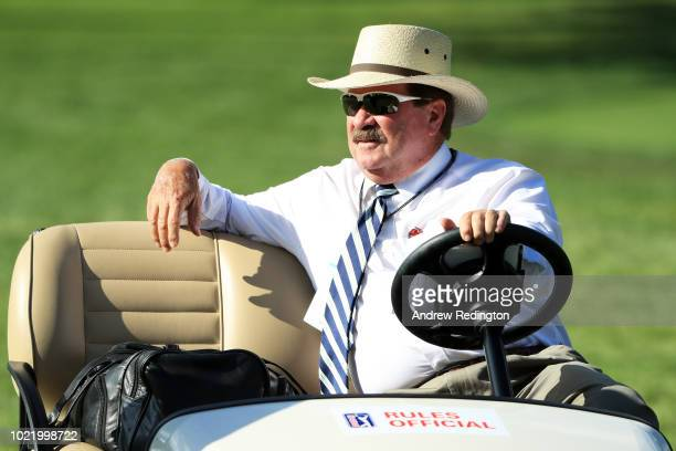 Rules official Slugger White looks on during the first round of The Northern Trust on August 23 2018 at the Ridgewood Championship Course in...