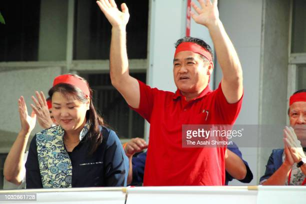 Ruling Liberal Democratic Party backed candidate Atsushi Sakima attends his election campaign launching ceremony as the Okinawa gubernatorial...