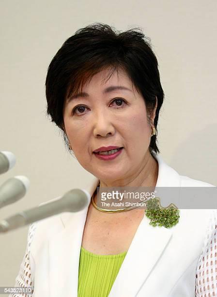Ruling Liberal Democratic Party veteran lawmaker Yuriko Koike speaks during a press conference on June 29 2016 in Tokyo Japan Koike announced her run...