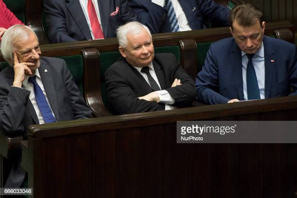 Ruling party leader Jaroslaw Kaczynski during Grzegorz Schetyna's expose in Polish parliament in Warsaw on April 4 2017