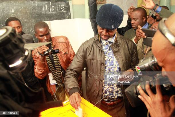Ruling Party Patriotic Front presidential candidate Edgar Lungu votes in John Howard Compound during the presidential election on January 20 2015 in...