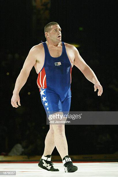 Rulon Gardner of the USA during his match against Georgiy Tsurtsumia Kazakhstan in the wrestling portion of the Titan Games at the Events Center at...