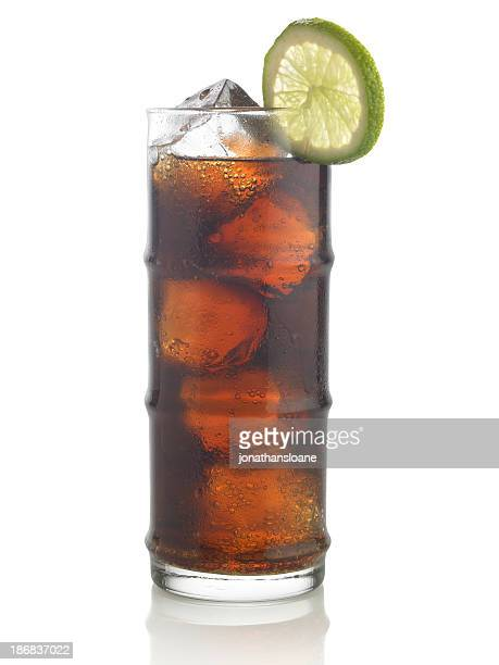 Rum and cola on a white background