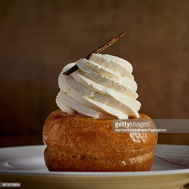Rum baba is photographed for Madame Figaro on November 25 2016 in Versailles France From Alain Ducasse's Ore the contemporary restaurantcafe in the...