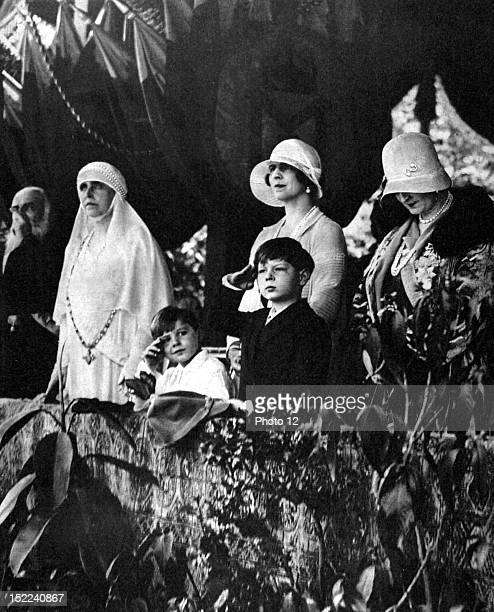 Rumania 10th anniversary of the 'great Rumania', The royal family during the parade of the troops in Bucarest, In the middle, young King Michel, On...