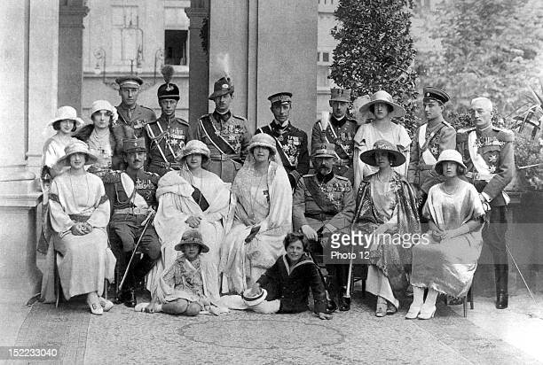 Rumania Belgrade Wedding of Alexander of Serbia and Princess Maria of Rumania The royal families of Rumania and Yugoslavia In the foreground from the...