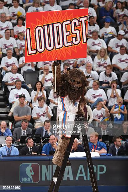 Rumble the Bison mascot of the Oklahoma City Thunder gets the crowd into Game Three of the Western Conference Semi Finals against the San Antonio...