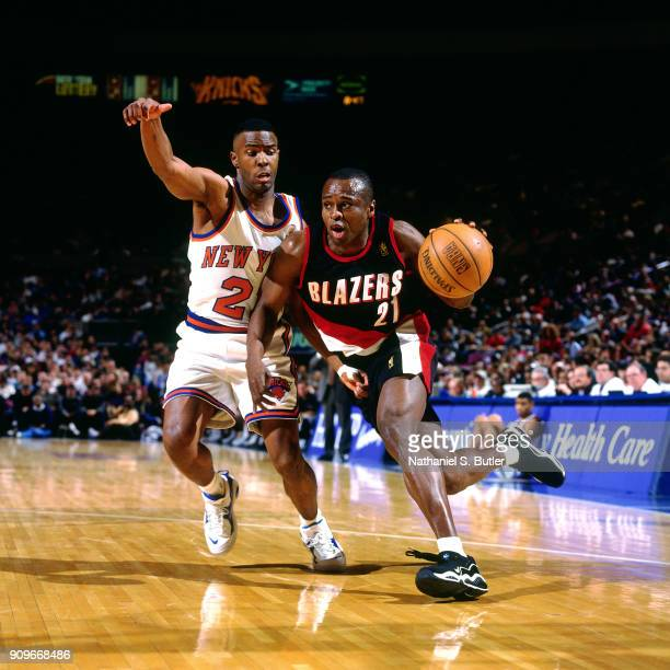 Rumeal Robinson of the Portland Trail Blazers dribbles during a game played on March 23 1997 at Madison Square Garden in New York City NOTE TO USER...
