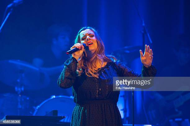 Rumer performs on stage at Islington Assembly Hall on November 6 2014 in London United Kingdom