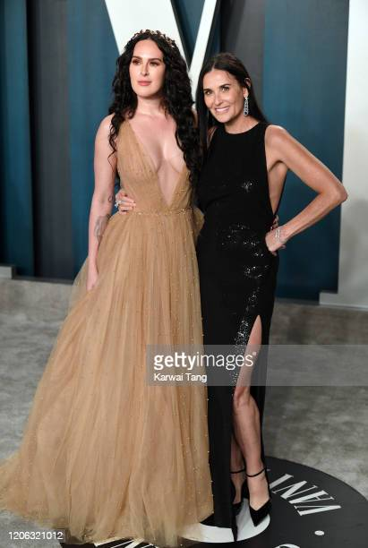 Rumer Willis and Demi Moore attend the 2020 Vanity Fair Oscar Party hosted by Radhika Jones at Wallis Annenberg Center for the Performing Arts on...