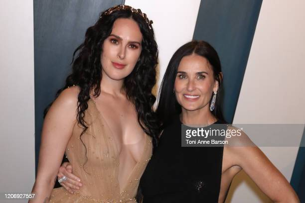 Rumer Willis and Demi Moore attend the 2020 Vanity Fair Oscar Party at Wallis Annenberg Center for the Performing Arts on February 09 2020 in Beverly...