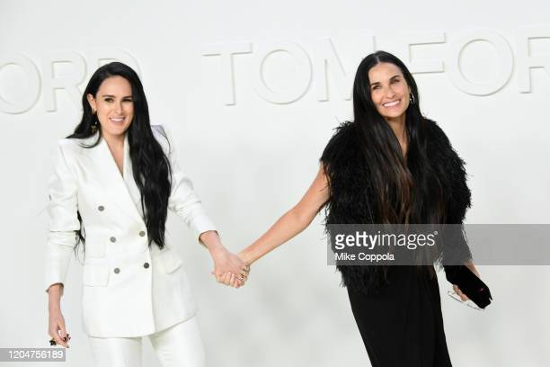 Rumer Willis and Demi Moore attend the om Ford AW20 Show - Arrivals at Milk Studios on February 07, 2020 in Hollywood, California.