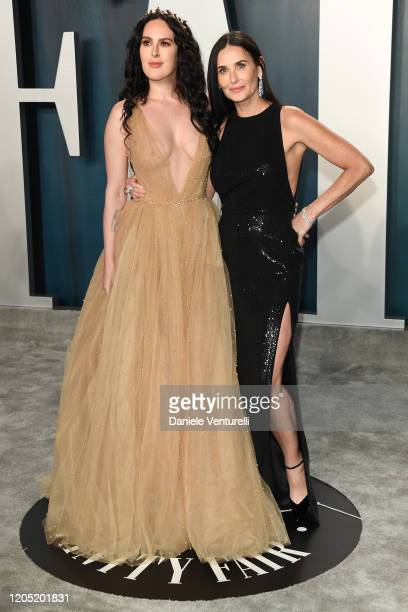 Rumer Willis and Demi Moore attends the 2020 Vanity Fair Oscar party hosted by Radhika Jones at Wallis Annenberg Center for the Performing Arts on...
