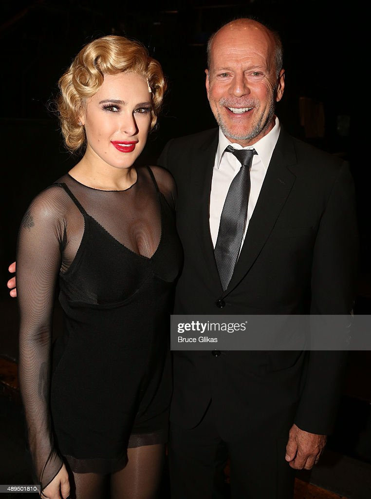 Rumer Willis and father Bruce Willis pose backstage as Rumer makes her broadway debut as 'Roxie Hart' in Broadway's 'Chicago' on Broadway at The Ambassador Theater on September 21, 2015 in New York City.