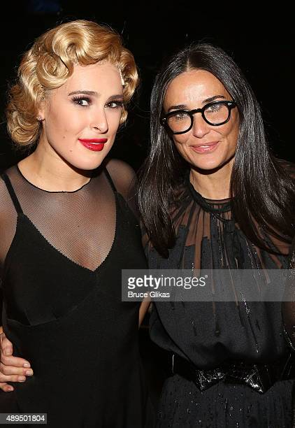 Rumer Willis and mother Demi Moore pose backstage as Rumer makes her broadway debut as Roxie Hart in Broadway's Chicago on Broadway at The Ambassador...