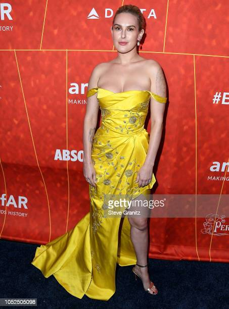 Rumer Willis arrives at the amfAR Gala Los Angeles 2018 at Wallis Annenberg Center for the Performing Arts on October 18 2018 in Beverly Hills...