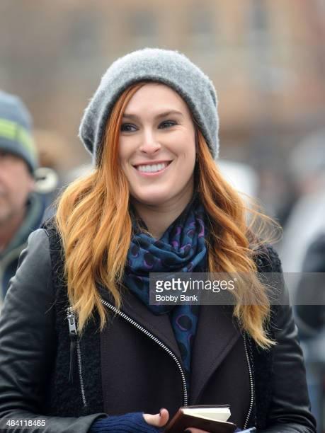 Rumer Willis on set filming 'Songbyrd' TV pilot on January 20 2014 in New York City