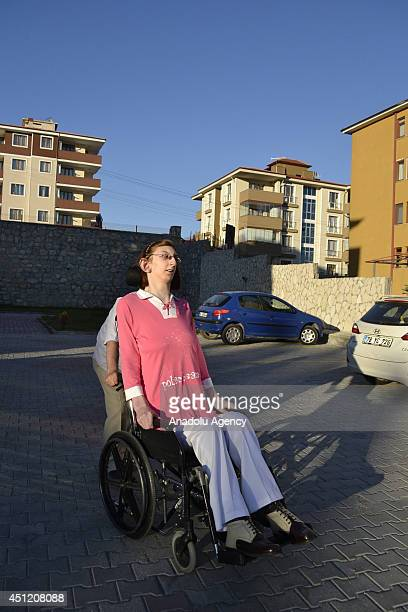 Rumeysa Gelgi granted as the world's tallest girl with her 213meter height outside their home in Turkey's Karabuk province on June 24 2014 Rumeysa...