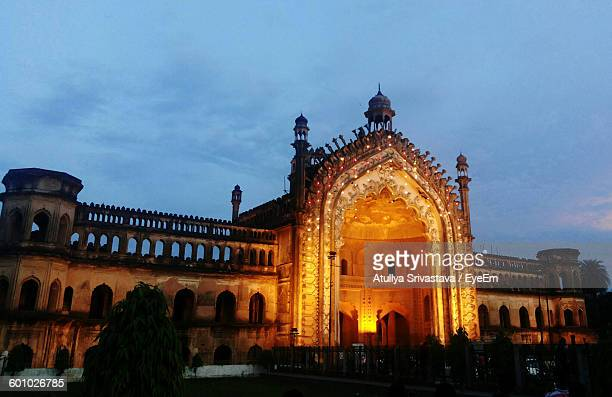 rumi darwaza against sky at dusk - uttar pradesh stock pictures, royalty-free photos & images