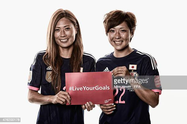 DIGITAL IMAGES WERE USED ON THIS IMAGE Rumi Utsugi and Asano Nagasato of Japanhelp promote the #Live Your Goals project during the official Japan...