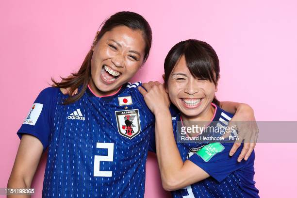 Rumi Utsugi and Aya Sameshima of Japan pose for a portrait during the official FIFA Women's World Cup 2019 portrait session at Hotel Barriere L'Hotel...