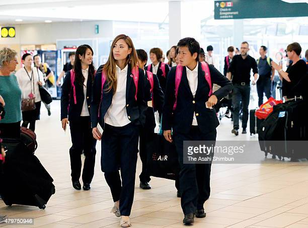 Rumi Utsugi and Ayumi Kaihori of Japan are seen on departure at Vancouver International Airport on July 6 2015 in Vancouver Canada
