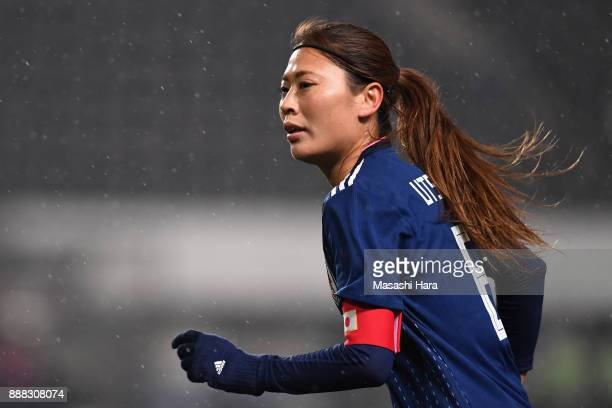 Rumi Utsugi of Japan in action during the EAFF E1 Women's Football Championship between Japan and South Korea at Fukuda Denshi Arena on December 8...