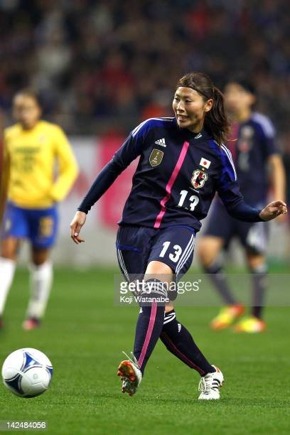 Rumi Utsugi of Japan in action during the international friendly match between Japan and Brazil at Home's Stadium Kobe on April 5 2012 in Kobe Japan